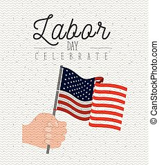 white background with zigzag lines of labor day celebrate with hand holding american flag waving