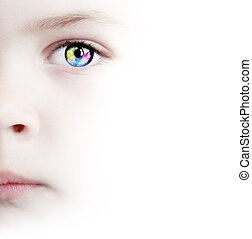 White Background Wth Beauty Child's Colorful Eye With Map