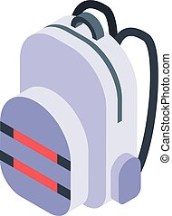 White backpack icon, isometric style