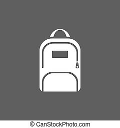 White backpack icon on a dark background