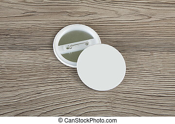 Blank white round gold lapel badge mock up, front back  Blank white