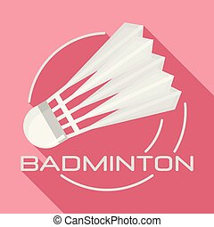 White badminton shuttlecock logo, flat style