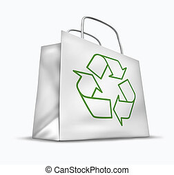 White bag with the recycle symbol