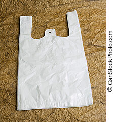 White bags with handle on brown design paper