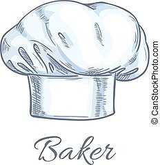 White baker toque or chef hat sketch
