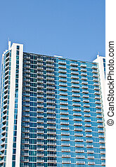 White Balconies on a Blue Condo Building