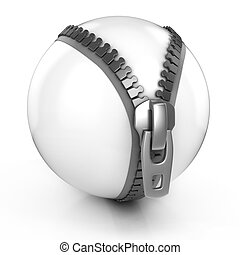 white ball with zipper abstract 3d illustration 3d ...
