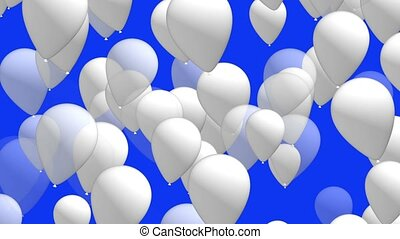 White balloons on blue background