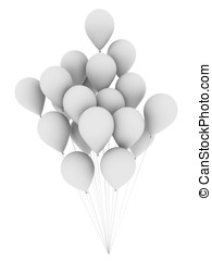 White balloons - A bunch of white balloons floating. 3d...