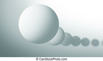 White Balls Moving Seamless in Abstract 3d Animation. Looped Background