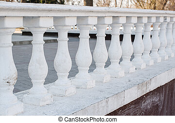 White Balustrade Pillars in park