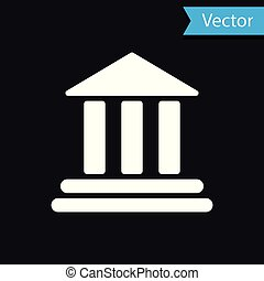 White Bank building icon isolated on black background. Vector Illustration