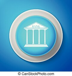White Bank building icon isolated on blue background. Circle blue button with white line. Vector Illustration