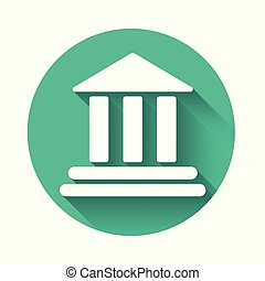White Bank building icon isolated with long shadow. Green circle button. Vector Illustration