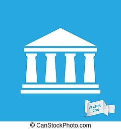 white bank icon on a blue background