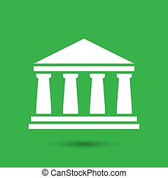 white bank icon on a green background