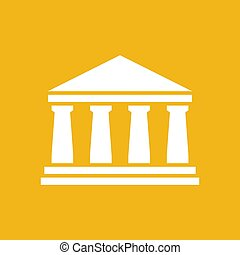 white bank icon on a yellow background