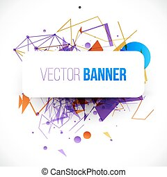 White banner on abstract vector background.