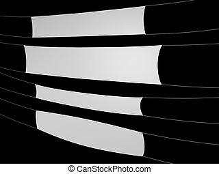 white banner on black background