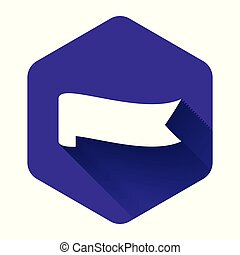 White Banner ribbon icon isolated with long shadow. Purple hexagon button. Vector Illustration