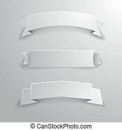 white banner ribbons 01 - detailed illustration of a set of ...
