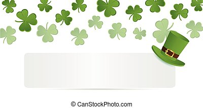 white banner with green hat on shamrock clover background ...