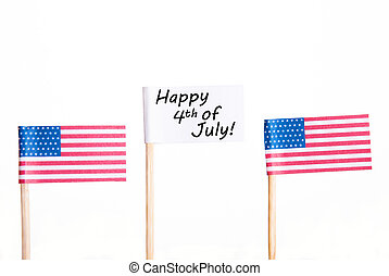 White Banner with Happy 4th of July