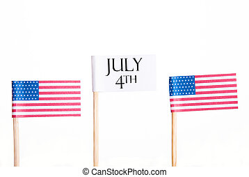 White Banner with July 4th