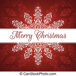 White banner with Merry Christmas text. Pattern in a shape of a snowflake on the red background.