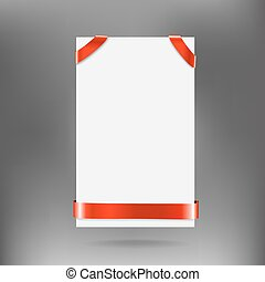 White banner with red ribbon on gray background. Vector