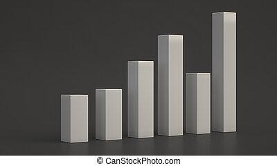 White bar diagram on black background