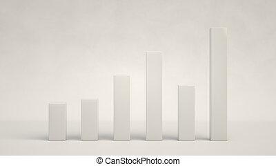White bar diagram on white background