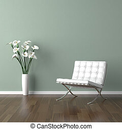 white barcelona chair on green - interior design scene with...