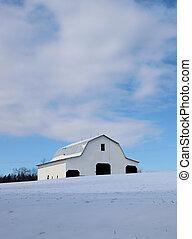 White barn in winter