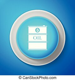 White Barrel oil icon isolated on blue background. Circle blue button with white line. Vector Illustration