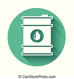 White Barrel oil icon isolated with long shadow. Green circle button. Vector Illustration