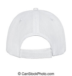 White baseball cap back view isolated