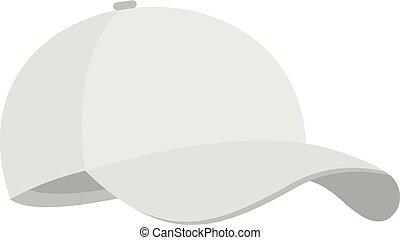 White baseball cap icon, flat style.