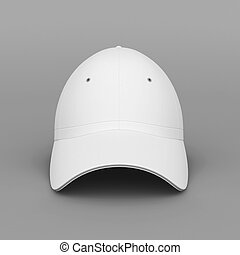 White baseball cap on gray background