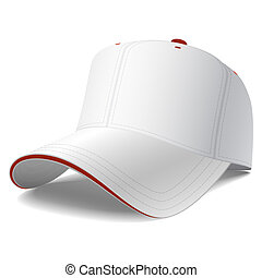 White baseball cap - Vector illustration of blank baseball...