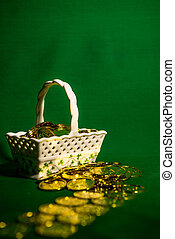 White Basket of Gold Coins