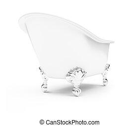 White bath against white