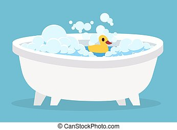 White bathtub. Cartoon clean cute hot bath with bubble and toys for indoor home spa foam soap relaxation isolated vector illustration