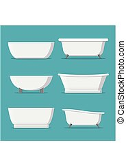 White bathtubs of different style and shape set isolated on blue background vector illustration.