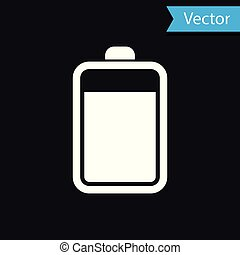 White Battery icon isolated on black background. Vector Illustration