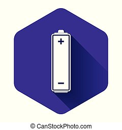 White Battery icon isolated with long shadow. Purple hexagon button. Vector Illustration