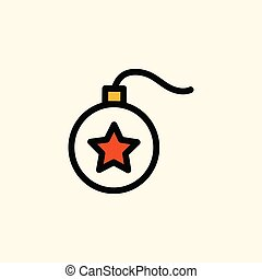 White bauble ball with red star icon.