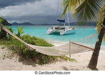 Catamaran at anchor in White Bay, Jost Van Dyke, BVI