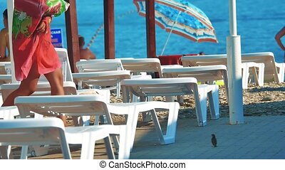 white beach loungers. Beach umbrella loungers for relaxing...