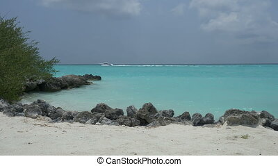 White beach with palm trees on the ocean and boat. Maldives....